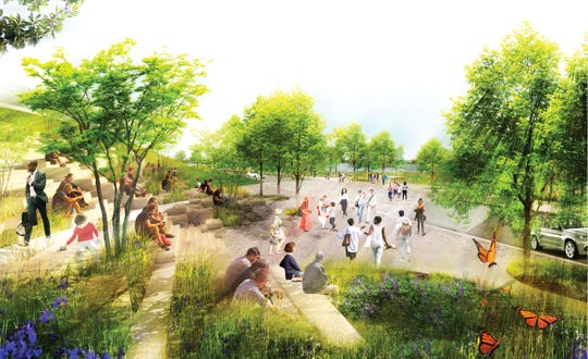 A rendering shows a pathway that flows down the bluff to connect downtown Memphis to the new Tom Lee Park from Beale Street. Wide steps provide places to sit and take in the views of the park and the river beyond.