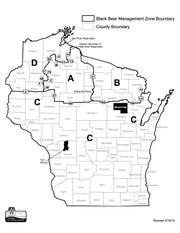 Bear Management Zones in Wisconsin. Wisconsin black bear management zones.