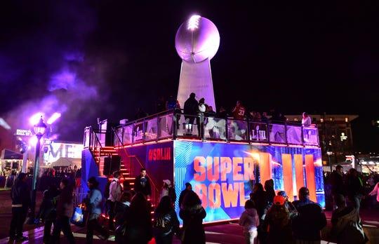 Jan 31, 2019; Atlanta, GA, USA; General overall view of replica Vince Lombardi trophy at Super Bowl LIII live at Centennial Park.