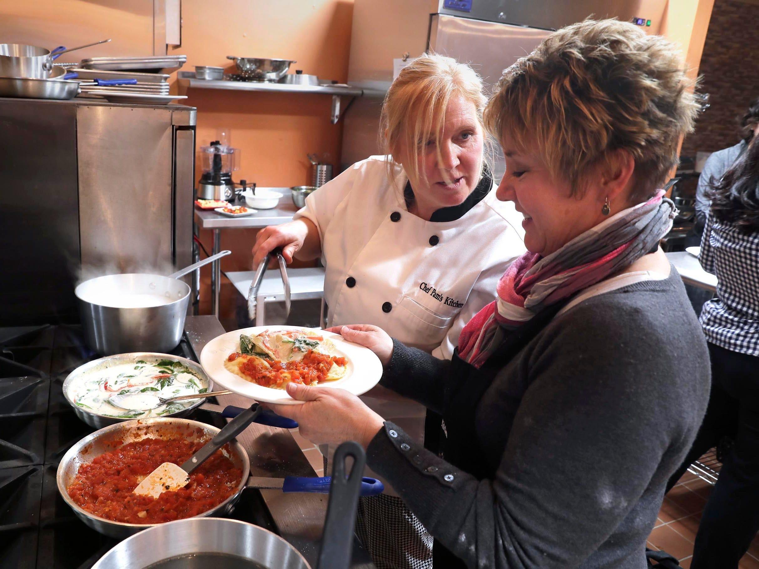 Student Lori Cieslik's ravioli are ready to take to the table.
