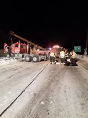 A semi-tractor jumped over the guardrail on I-43, spilling about 200 gallons of fuel on Jan. 31. The southbound lanes of I-43 were closed for three hours as crews cleaned up the mess.