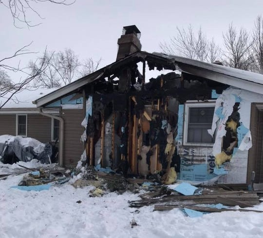 A fire burned through the chimney and into the roof of a home on Greenmeadow Lane Jan. 31.
