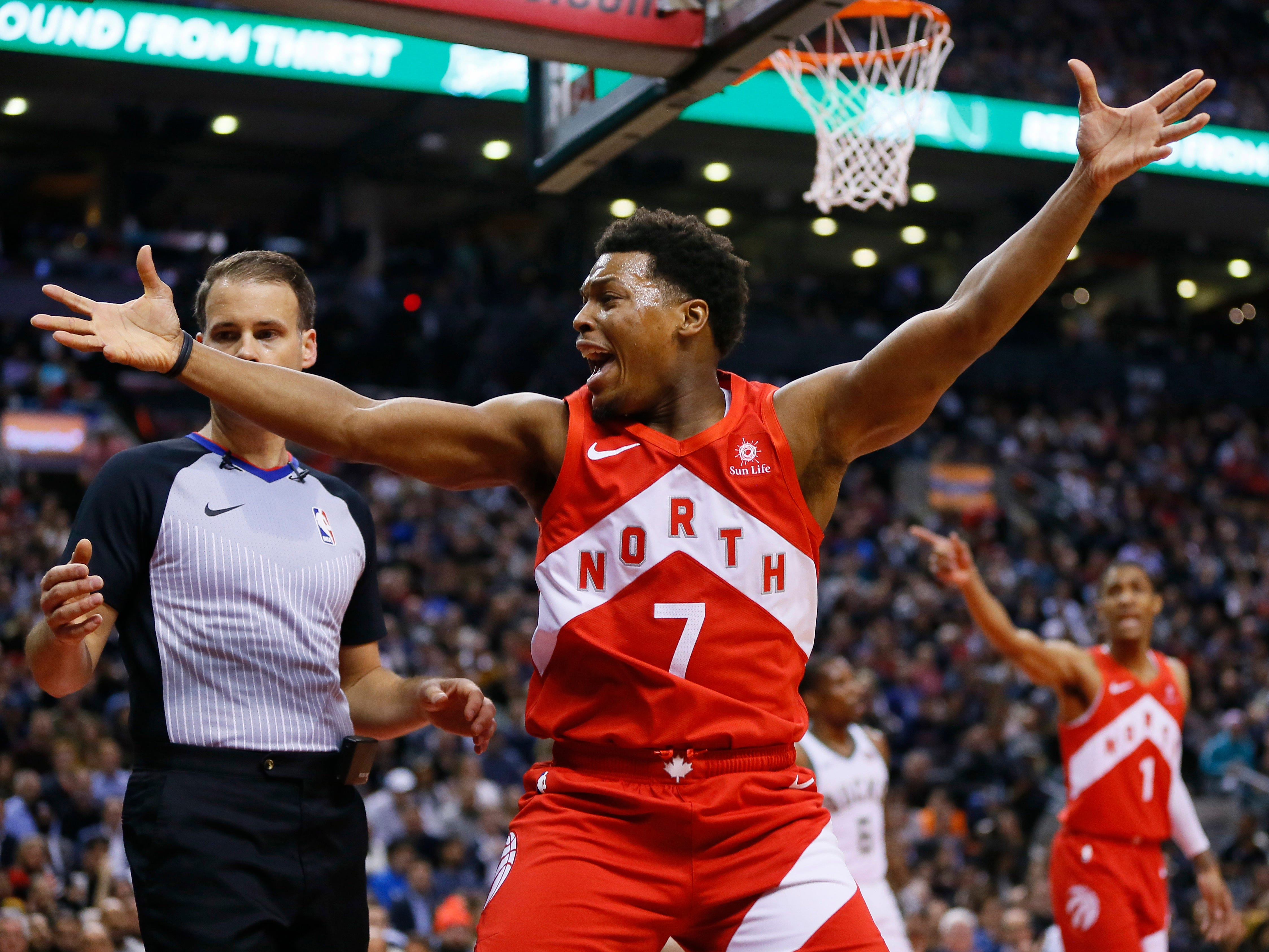 Raptors guard Kyle Lowry, who was named to the all-star game as a reserve before Toronto's contest against the Bucks on Thursday, is none too pleased with a call by the refs in the first half.