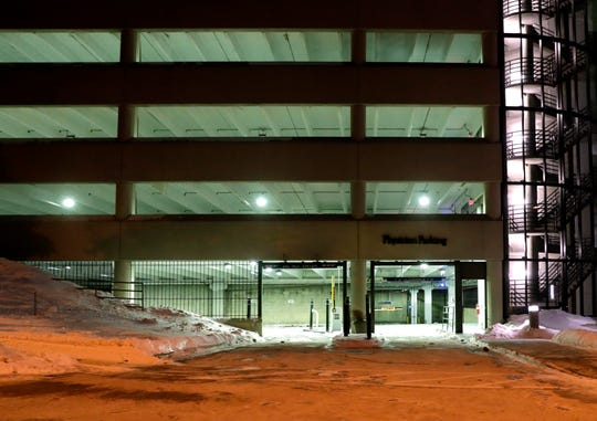 This is the physicians entrance at Parking Lot 1 at Froedtert Hospital, where a former valet has been charged in the brutal homicide of a nurse practitioner in the parking garage. Kenneth Freeman was waiting behind a concrete pillar at Froedtert when Carlie Beaudin stepped out of the elevator about 1 a.m. on Jan. 25, 2019, according to a criminal complaint.