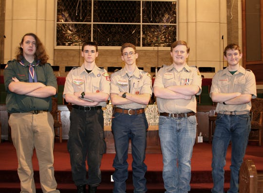 Gabriel Sutton (from left), Logan Simpson, Cody Marquis, J.D. Campbell and Steven Curtis are all members of Westark Area Council Troop 156 in Mountain Home. These young men have either completed or near completing the work required to earn themselves the rank of Eagle Scout. The troop has a higher than national average number of young men who have earned the prestigious badge.
