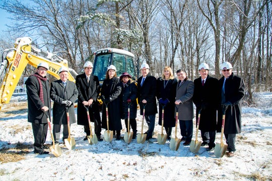 County, state and school officials celebrate the groundbreaking of an $11 million advanced manufacturing and engineering center at County College of Morris. Jan. 30, 2019
