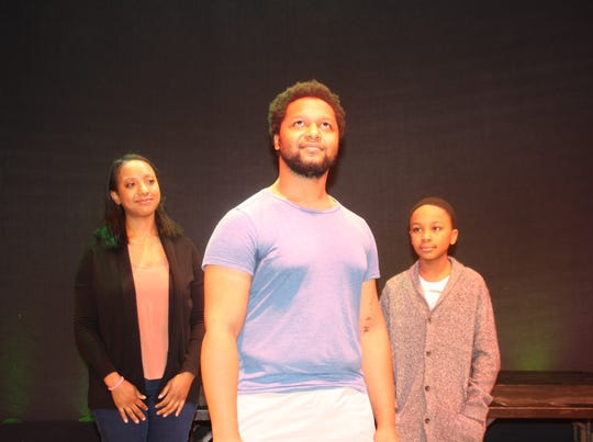 """Steven Michael Martin plays the title character in """"John Henry,"""" which also features Natalie Marie Bailey and Marcellus Brown. The play, which combines music and history, is an original take by playwright Elise Forier Edie on the African-American steel-driving man."""