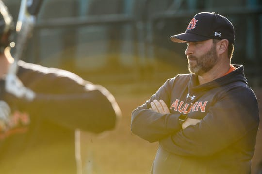 Auburn baseball coach Butch Thompson looks on during a preseason practice at Plainsman Park.
