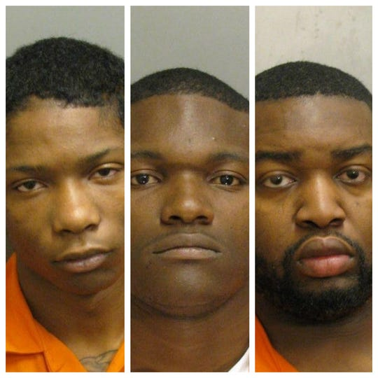 De'Quavious Caldwell, Juanderrius Riley and Mantez Holmes were each charged with robbery and burglary.