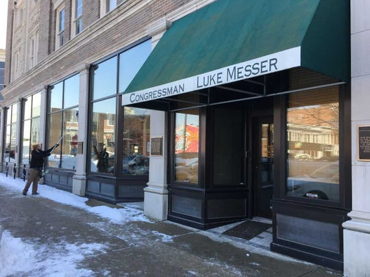 Ex-Congressman Luke Messer's office in a downtown Muncie storefront sits empty.