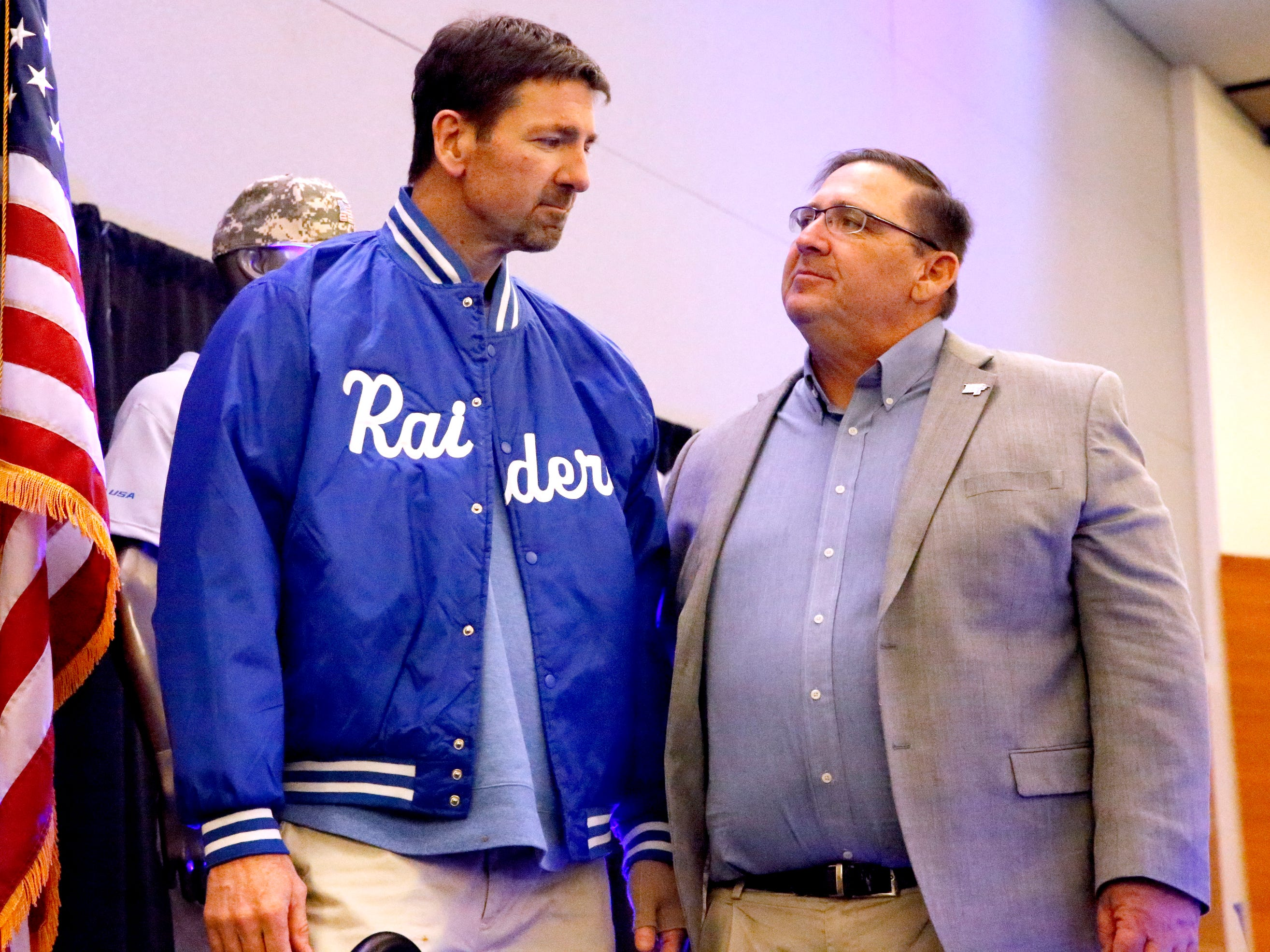 MTSU's new baseball coach Jim Toman, right, stands next to George Zimmerman after Zimmerman was named this years Railbird on Friday, Feb. 1, 2019, during the annual Groundhog Day luncheon.