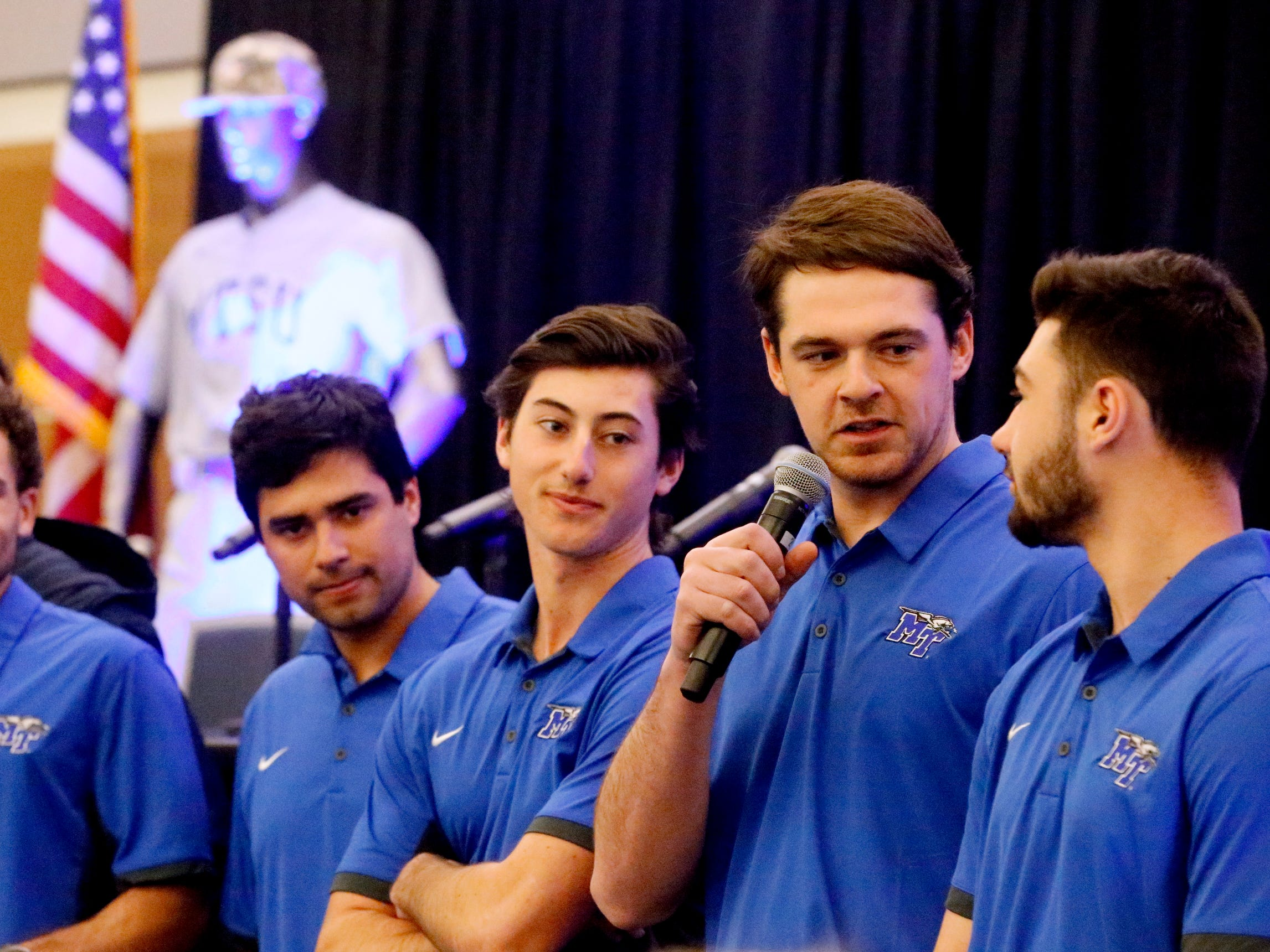 Players introduce themselves to the crowd on Friday, Feb. 1, 2019, at the annual MTSU baseball kickoff Groundhog Day Luncheon.