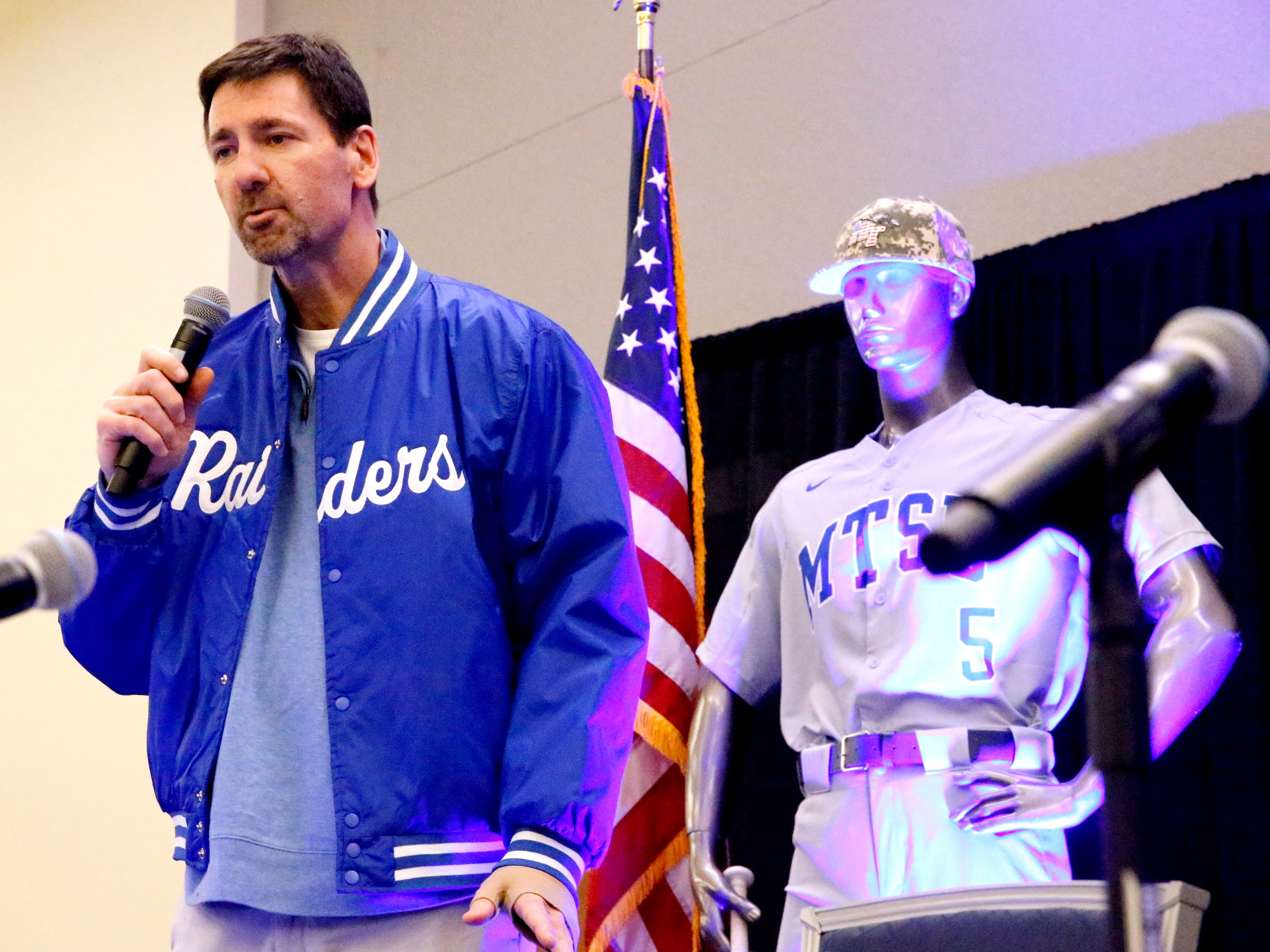 George Zimmerman seeks to the crowd after MTSU's new baseball coach Jim Toman, names Zimmerman as this year's Railbird on Friday, Feb. 1, 2019, during the annual Groundhog Day luncheon.
