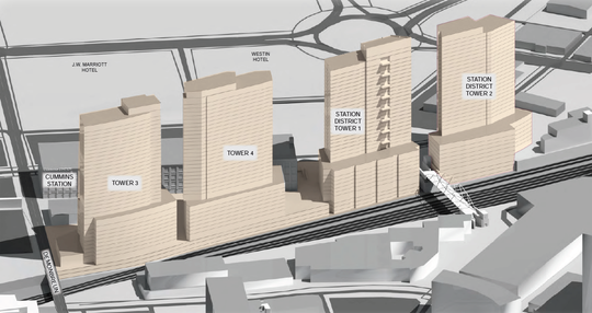 Tower heights are shown here in early plans.