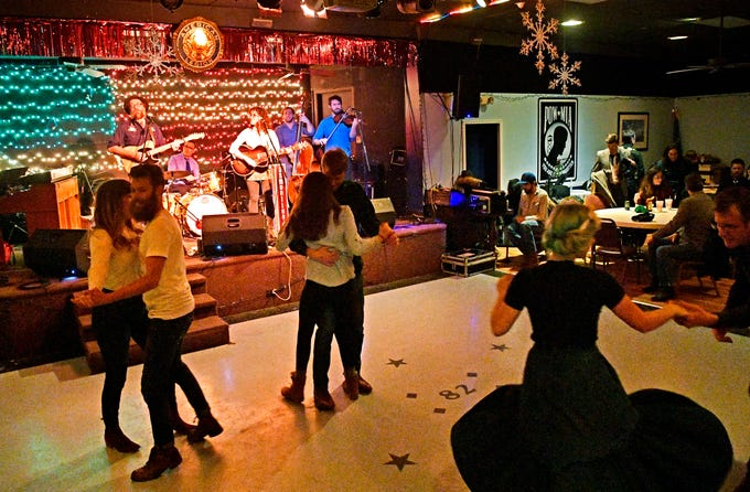 The dance floor fills as two-step dancers take over at the American Legion Post 82 in East Nashville during their Honky Tonk Tuesdays Jan. 29, 2019, in Nashville, Tenn.