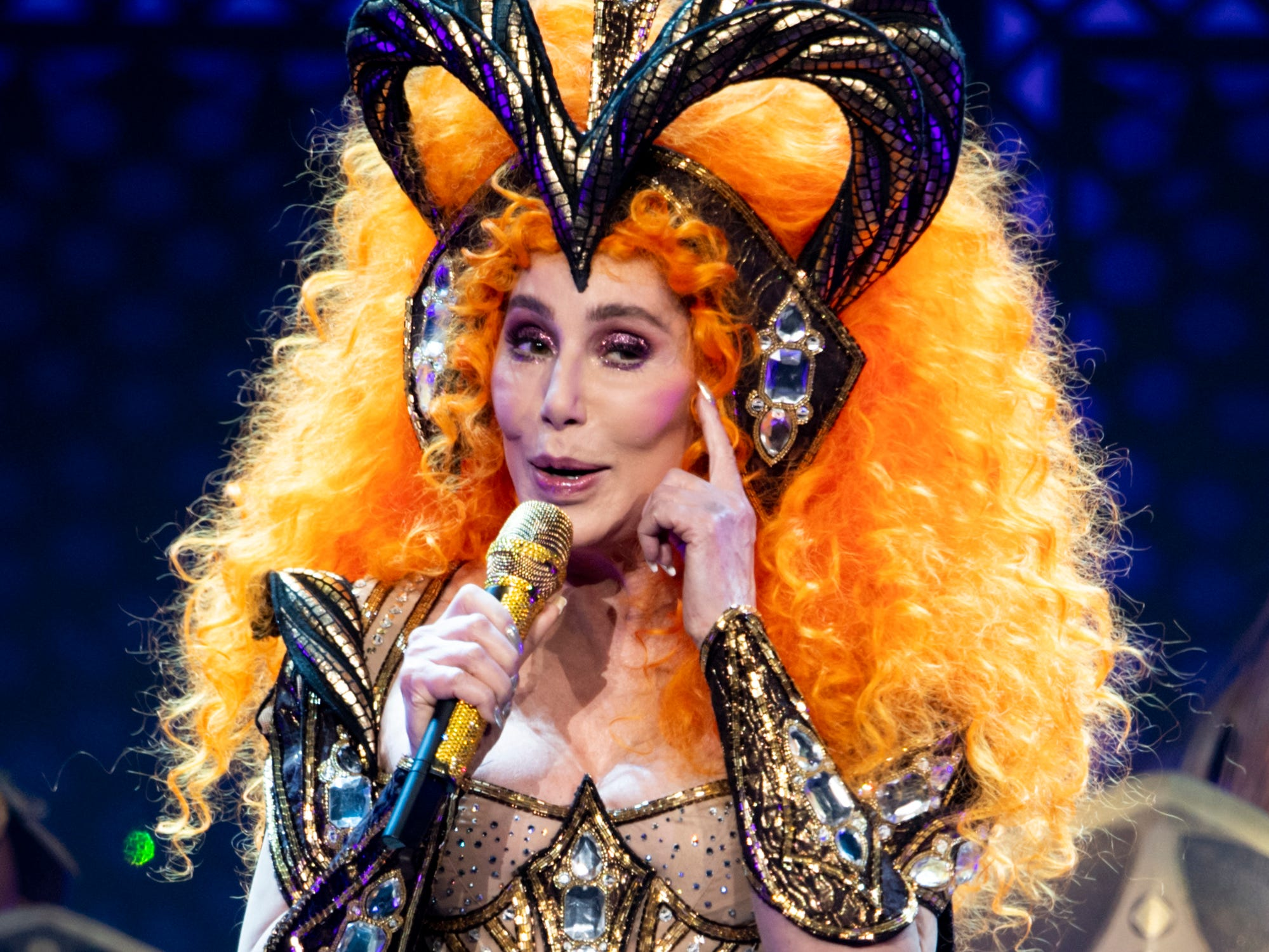 Cher performs during the Here We Go Again Tour at Bridgestone Arena in Nashville, Tenn., Thursday, Jan. 31, 2019.