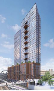 A rendering of the first tower proposed behind Cummins Station near the Gulch.