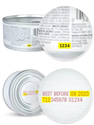 Here's where to find the SKU number (top) and the lot code / date code for recalled Hill's Pet Nutrition items.