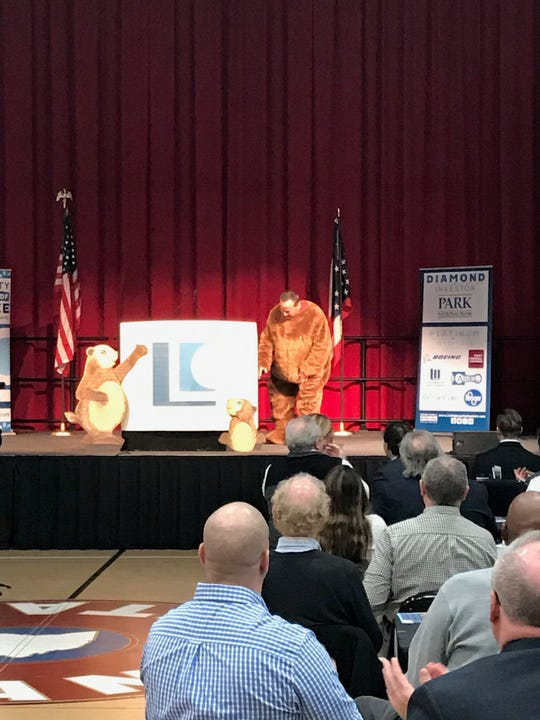 Jim Matesich, of Matesich Distributing, was unveiled as the groundhog at the 2019 Groundhog Breakfast.