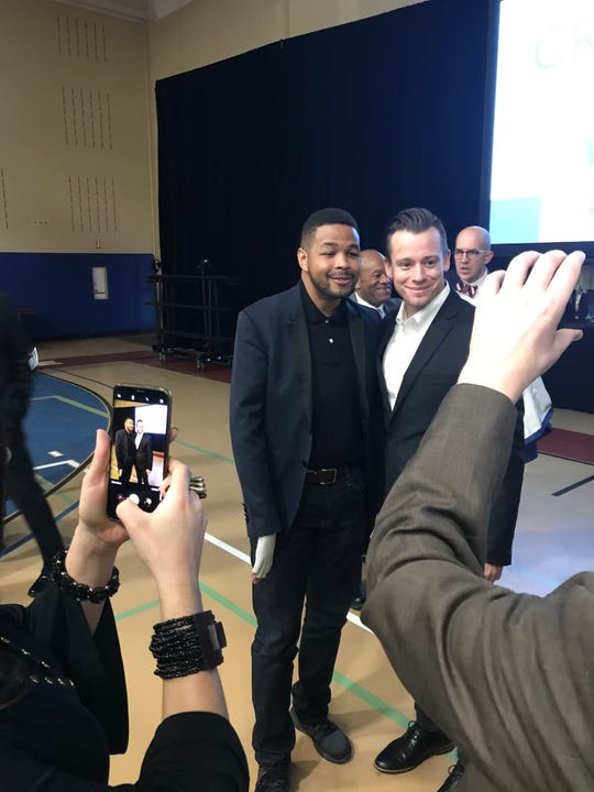 Inky Johnson, left, was the keynote speaker at the 2019 Groundhog Breakfast.