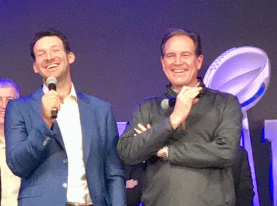 Tony Romo, left, and Jim Nantz will call Super Bowl LIII on CBS on Sunday night in Atlanta between the Rams and the Patriots.