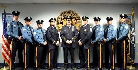 Six police officer recently joined the Paramus Police Department. From left, Officer Nicholas Perna, Officer David Polanco, Officer Matthew Mulick, Deputy Chief Robert Guidetti, Chief Kenneth Ehrenberg, Captain David Angelucci, Officer Matthew Orefice, Officer Theodore Cebulski and Officer Christopher Bores.