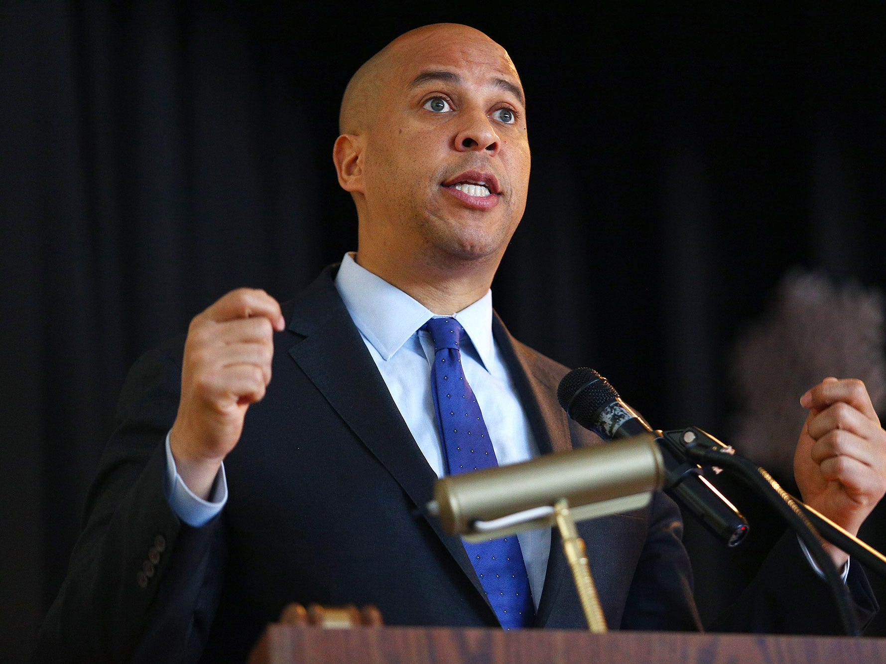 U.S. Senator Cory Booker gives the Keynote Address at Morristown's 2018 reorganization meeting at the Thomas Jefferson School in Morristown. Booker also sworn in Mayor Tim Dougherty to his third term. January 1, 2018. Morristown, NJ.