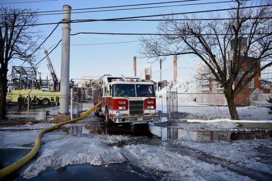 Firefighters are still on the scene of the Marcal site in Elmwood Park, NJ on Friday February 01, 2019.