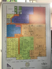 A potential first floor plan of a new Saddle Brook municipal complex.