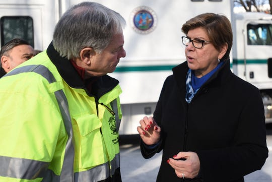 New Jersey State Senator Nellie Pou visits the Marcal site in Elmwood Park, NJ on Friday February 01, 2019. Bergen County Executive Jim Tedesco and State Senator Nellie Pou speak at the Marcal site.