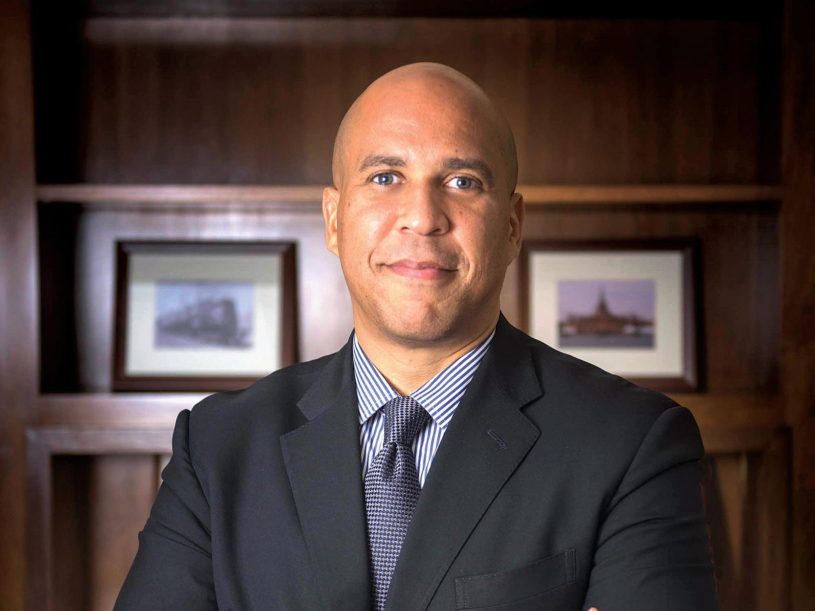 Jul 17, 2017; Washington, DC, USA;  Sen. Cory Booker (D-NJ) poses for a portrait in his Capitol Hill office. Booker is working on Dignity for Women in Prison legislation aimed at improving conditions for female inmates.