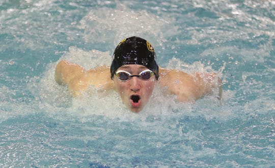 Mitchell Shirman of River Dell/Westwood winning the Boys 200 Yard Individual Medley.