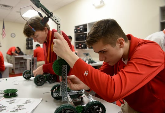 Bergen Catholic High School seniors Skyler Olsen 18, of Oradell and Dylan Sesink Clee 17, of Wyckoff build robots during class on Thursday, January 31, 2019.