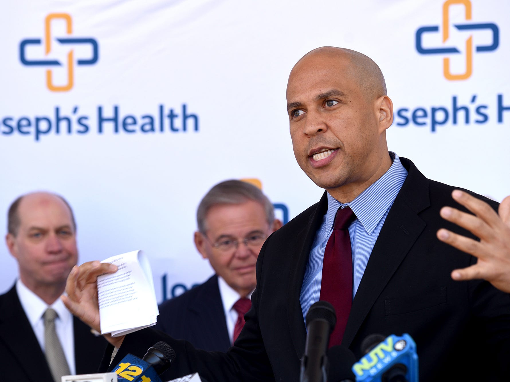 Senator Cory Booker (D-NJ), from right and Senator Bob Menendez (D-NJ) and U.S. Representative Bill Pascrell, Jr. (D-NJ-09), not pictured, announced their bipartisan federal legislation that would provide emergency departments with the resources they need to combat the opioid crisis.The Alternatives to Opioids (ALTO) in the Emergency Department Act would establish a national demonstration program, based on the successful ALTO model pioneered at St. Joseph's Medical Center, to implement alternative pain management protocols to limit the use of unnecessary opioids in emergency departments both here in New Jersey and across the country on Monday, April 23, 2018.
