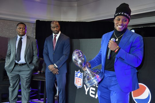 ATLANTA, GA - JANUARY 31:  (L-R) Barry Sanders, Curtis Martin and Saquon Barkley attend the Pepsi Rookie Brunch Celebrating Saquon Barkley as 2018 Pepsi NFL Rookie of The Year at the Ritz Carlton on February 1, 2019 in Atlanta, Georgia.  (Photo by Theo Wargo/Getty Images for Pepsi)