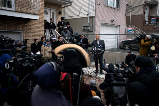 Cory Booker during a press conference in Newark announcing his 2020 presidential candidacy on Friday, February 1, 2019.