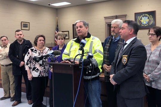 Bergen County Executive James Tedesco speaks at the Elmwood Park municipal building during a press conference regarding the aftermath of the Marcal Paper fire on Friday, February 1, 2019.