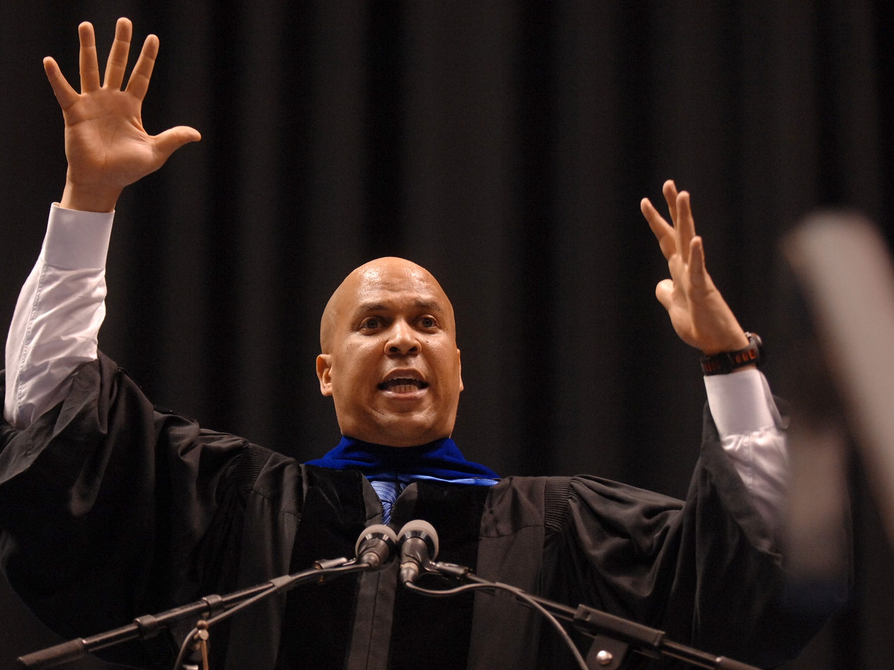 The sixty-ninth Fairleigh Dickinson University Commencement held at the Izod Arena, featured 2600 students from 50 countries, and a large crowd of family and friends in the audience cheering them on and taking pictures. Newark Mayor, Cory Booker got an honorary degree and gave an inspirational speech, May 15, 2012.