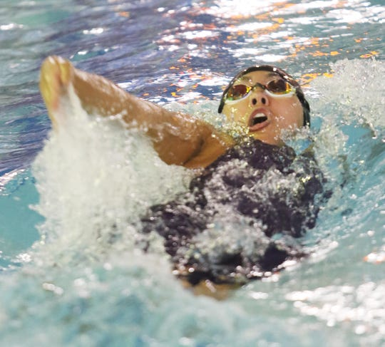 Sydney Rodriguez of River Dell/Westwood doing the backstroke in the Girls 200 Meter Medley Relay.