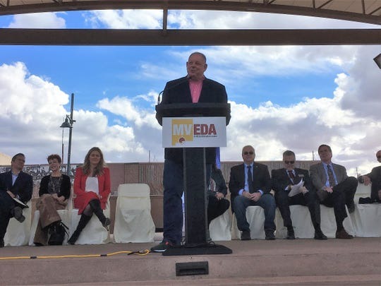 Ganymede Games co-founder Jerry Prochazka, at podium, announced his company would make downtown Las Cruces its home on Friday, Feb. 1., 2019.
