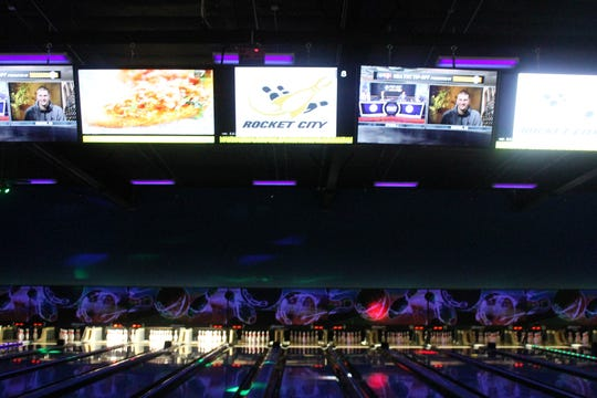 The bowling lanes at Rocket City Fun Center.