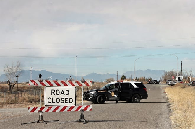 New Mexico State Police continue their investigation of an officer involved shooting near Alamogordo on the Relief Route Feb. 1, 2019.