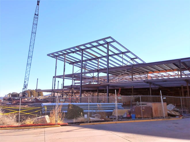The steel frame will disappear as the hospital is enclosed.