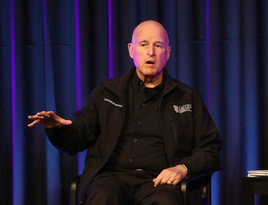 Jerry Brown speaks at the Rancho Mirage Public Library during the Rancho Mirage Writers Festival, January 31, 2019.