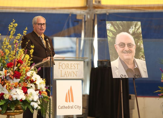 California State Sen. Jeff Stone speaks during a ceremony remembering Greg Pettis in Cathedral City, Feb. 1, 2019.