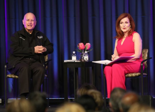 Jerry Brown is interviewed by Maureen Dowd in front of an audience from the Rancho Mirage Writers Festival, January 31, 2019.