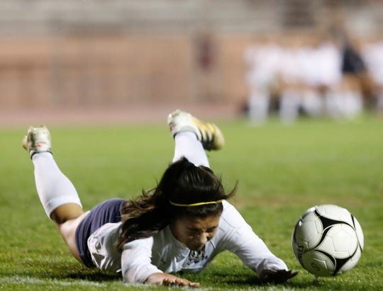 Monica Calderon draws the foul inside the box for a penalty kick against Cathedral City High School in 2018.
