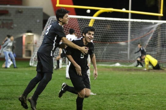 Palm Springs forward Raul Morado reacts after scoring the game-tying goal with 26 seconds remaining in regulation Thursday against La Quinta.