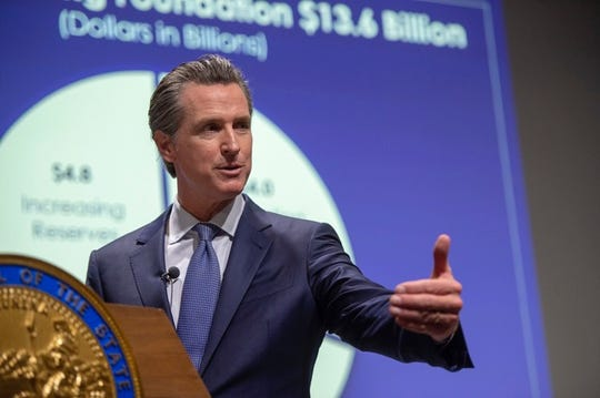 California Gov. Gavin Newsom introduces his proposed state budget for fiscal year 2019-20 on Thursday, Jan. 10, 2019.