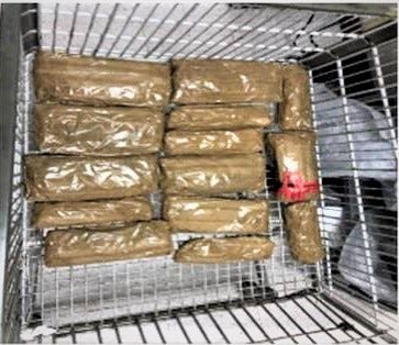 Border Patrol agents found 14 packages of meth in the air conditioning unit of a Chevorlet Blazer at the checkpoint on Highway 86 on Jan. 31
